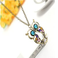 Wholesale Owl Sweater Dress - Wholesale-New Women Girl Fashion Dress Populer Jewelry High Quality 1Pc Crystal Big Blue Eyed Owl Long Chain Pendant Sweater Necklace