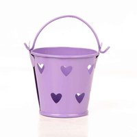 Wholesale Tin Pail Bucket Gifts - happy_weddings Free Shipping Deep Gray Heart Hollow Mini Bucket Tin Pails Favor Tin Pails For Wedding Birthday Favors Gifts 20pcs