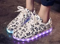 Lace-Up spring step sandals - Han edition colour glow shoes USB charging ghost dance step LED luminous sandals breathable sneakers shoes men and women
