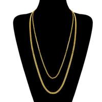 collar de eslabones de cadena de oro blanco al por mayor-Moda 3MM 5MM 60CM 70CM Acero Inoxidable Oro Amarillo / Oro Blanco Plateado Hiphop Cuban Link Chain Collar Unisex para Hombres Mujeres NL-231