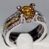 Wholesale Princess Round Diamond Ring - 2017 New Top Sell Fashion Jewelry 925 Sterling Silver Round Cut Gold Topaz Birthstone CZ Diamond Wedding Princess Women Bridal Ring Set