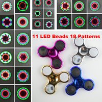 Wholesale Electroplated Beads - 11 Led beads 18 Patterns Fidget Spinners with Switch Chrome Hand Spinners Fidget Stress Reducer Decompression Tri-Spinner Electroplate Toys
