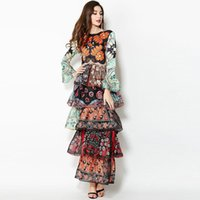 Wholesale Layered Ruffle Sleeves - New Arrival Women's O Neck 3 4 Sleeves Printed Floral Tiered Layered Ruffles Long Runway Maxi Dresses