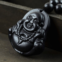 Wholesale Smiling Buddha Pendant - Wholesale-Natural stone Buddha Pendant necklace Pendants 3.5 x 3 cm stone smile Buddha necklace long chain with pendant women gift 0228