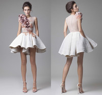 Wholesale Long Sleeve Evening Stylish - 2017 Stylish Krikor Jabotian Evening Dresses O Neck Illusion Cap Sleeves 3D Flowers Lace White Short Prom Dresses Cocktail Party Dresses