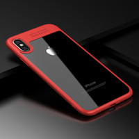 Wholesale Hard Transparent Plastic - Luxury Soft Silicone case for iphone X cover TPU edge plastic transparent hard pc back cases cover