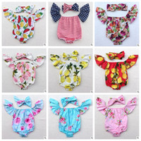 Wholesale Romper Hairband Set - Baby Clothing Sets Girls Lemon Off Shoulder Floral Romper Bowknot Headband Jumpsuit Kids Flower Summer Outfits Fashion Hairband Suits J493