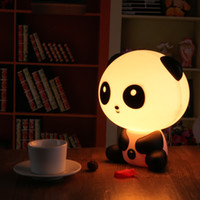Wholesale Sleeping Bear Cartoon - Pretty Cute Panda Bear Cartoon Animal Night Light Baby Room Sleeping Light Bedroom Desk Lamp Night Lamp Best for Gifts