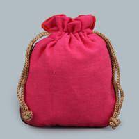 bolsas de tela de cumpleaños al por mayor-Color liso Bolsas de empaquetado de tela pequeña Bolsa de joyería con cordón de lino de algodón Bolsa vacía de CandyTea para Favor de fiesta de cumpleaños de la boda de Navidad