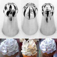 Wholesale Wholesale Nozzle Tips - Wholesale- 3PCS Stainless Steel Icing Piping Tips Nozzle Sphere Shape Russian Lcing Piping Nozzles Pastry Tips Decoration