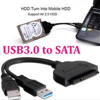 pc sabit diskler hdd toptan satış-100 adet USB 3.0 STAT 7 + 22Pin Adaptör Kablosu PC bilgisayar Için 2.5 HDD Dizüstü Sabit Disk Sürücüsü sabit disk kablosu ile güç USB