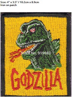 "Wholesale King Japan - 4"" KING OF THE MONSTERS GODZILLA Flag Patch clothing Iron on BADGE Japan TV Movie Series Halloween Cosplay Costume Supplies"