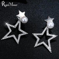 RAVIMOUR Punk Big Star Femmes Boucles d'oreilles Imitated Pearl Jewelry Korean Front Back Boucle d'oreille en zircon à double face Bracelet en argent