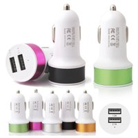 Wholesale Apple Ipad Sales - 2017 Hot Sale Colorful Dual 2 USB Ports Car Chargers For ipad iphone 5 6 6S 7 Plus Samsung HTC Huawei Smartphone