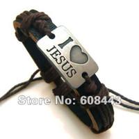 Wholesale Metal Wristbands For Men - Wholesale-Cool stuff Wholesale Leather Metal Unisex Fashion For Women love Jesus Bracelet Wristband bangle men