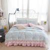 Wholesale Princess Floral Bedding - Korean garden Floral Cotton Bed Skirt four piece Princess lace cotton quilt bedding 1.8m wind