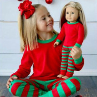 Wholesale Boy Girl Christmas Pajamas Sets Free DHL New Children Cotton Stripe Long Sleeve Pants Suits Baby clothes Home Clothing Sets