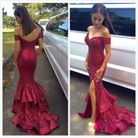 Wholesale Sparkle Long Party Dresses - 2016 New Sparkling Sequins Mermaid Prom Dresses Off the Shoulder Sleeveless Split Evening Dresses Sweep Train Backless Formal Party Dresses