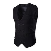 Wholesale Double Breasted Black Mens Vest - Wholesale- 2016 Fashion Mens Wedding Waistcoats Solid Slim Fitness Sleeveless Jackets Double Breasted Classic Black Suit Vests XL MJ15
