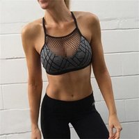 Wholesale Sexy Shocking - Grid Digital Print Yoga Bra Women Dry Fit Tank Breathable Halter Top Shock Absorption Running Bra Patchwork Sports Fitness Vest