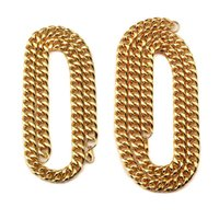 Wholesale Diamond Chunky - Hot Hiphop Chunky Necklace for Men 18k Gold Plated Cuban Link Chain Collier Steampunk Jewelry Gifts Wholesale