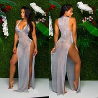 Wholesale Dots Maxi Dress - Sexy Summer Beach Sequins Long Dresses 2017 New Style Women Summer Cover Up Split Sexy Beach Long Maxi Dresses