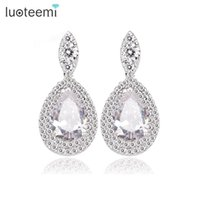 Wholesale Bridal Tear Drop Jewelry - LUOTEEMI Hot Sell! Pure Clear Cubic Zirconia Tear Drop Earrings Bridal Wedding Jewelry for Women White Gold-Color Wholesale