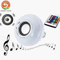 Wholesale Enjoy Life - E27 LED Bulbs Wireless Bluetooth 12W LED Speaker Bulb RGBW Music Play Lighting mobile control and 24 Keys Remote Control enjoy green life