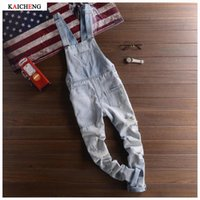 Wholesale Preppy Mens Clothes - New Fashion Ripped Mens Denim Bib Overalls Jeans 2017 Brand Men's Clothing Casual Distrressed Jumpsuit Jeans Pants For Man