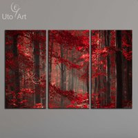 Wholesale giclee wall art - Morden 3 Panel Wall Art Painting Red Enchanted Forest Giclee Prints Wall Pictures Canvas Art Paintings for Living Room