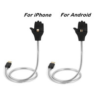 Wholesale Ipad Docking Black - Universal 2 in 1 Hand Metal flexible pipe charge cable Car Dock Flexible Stand up Cable Charge+hand Holder for iPad iphone android cellphone