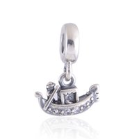 Wholesale Wholesale European Dangle Charms - Authentic 925 Sterling Silver Beads Gondola Dangle Charm Fits European Pandora Style Jewelry Bracelets & Necklace 791143CZ