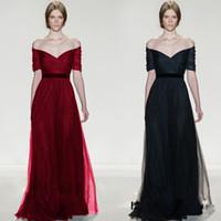 Wholesale vintage art sale - Elie Saab Off The Shoulder Evening Dresses 2017 Navy Blue Tulle Floor Length Cheap Hot Sale Formal Prom Party Gowns