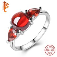 Wholesale Simulated Ruby Rings - BELAWANG Round Simulated Ruby Finger Ring 925 Sterling Silver Clear Cubic Zirconia Ring Anniversary Jewelry Gift Wholesale #678 For Women