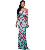 Wholesale Maxi Dress Shop - DL61Super deal african print dresses online shopping india off the shoulder african mermaid dresses for women print maxi dresses One shoulde