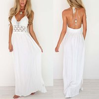Wholesale Long Sundresses For Women - Maxi Dress Summer 2017 White Floral Strapless Sexy Ladies Backless Long Beach Dresses for Women Sundress Robe Longue Femme Ete