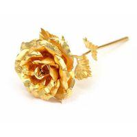 Wholesale golden flowers decorations resale online - Golden Rose Gold Foil Plated Naked Flower For Mother Day Valentine Gift Wedding Decorations Send Girl Friend Boutique jp F