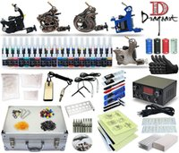 Wholesale Tattoo Machine Gun Case - Complete Tattoo Kit 5 machine Gun Power Supply TK-31 40 Color Inks (black case)
