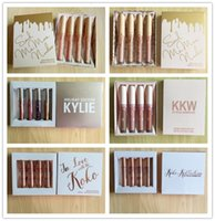 Wholesale Nude Matte Lipstick - 20 sets KOKO KOLLECTION kkw in love with koko ,nude matte limited makeup 4pcs set KYLIE Liquid matte lipstick Kollection by Kylie cosmetics