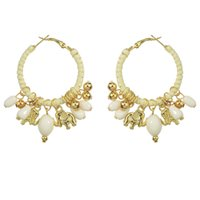 Wholesale Gold Beads Hoop Earrings - Ethnic Style Jewelry Colorful Bead Resin Gold Elephant Charm Hoop Earrings for Women