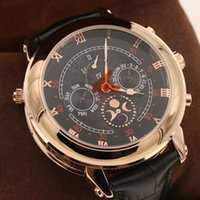 Wholesale Double Faces Watch - Top High Quality New Men's Automatic Watch Sky Moon Sport Style Double Face Leather Band Men Watches Wristwatch free shipping