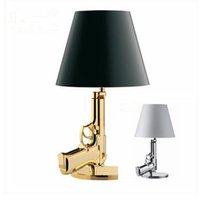 Wholesale Gold Gun Table - Flos Bedside Gun Lamp Flos Lounge Gun AK47 Table Lamp Chrome Gold Gun Starck Design Philippe Bedroom Table Lamps Desk Light Read Light