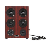 Wholesale Floor Jacks - Freeshipping HiFi Subwoofer speaker Wooden Leather 3.5mm Jack Speaker Music Stereo Sound System for desktop computer PC