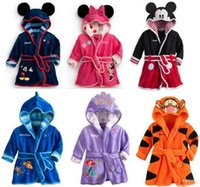 Wholesale Baby Wear Flannel - Children Cartoon Robes Animal Boys Girls Flannel Pajamas sleepwear Baby Bathrobe Romper kids Home wear Dinosaur pijamas Cloak hight quality
