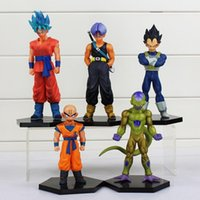 5 Pcs / Set Dragon Ball Z Super Krillin Kuririn Résurrection F Vegeta Troncs Freeza Fils Gokou PVC Figurines Jouets Poupées 12 ~ 18 cm