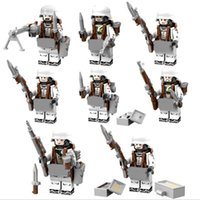 Wholesale Plastic Model Soldiers - 8pcs lot Military Snow Soldiers Army Building Blocks Sets Model Bricks DIY Assembled Toys Children Gift