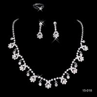 Wholesale Necklace Star Cheap - 15018 Cheap Frere Ship Hot Sale Holy White Rhinestone Crystal Flower Earring Necklace Set Bridal Party