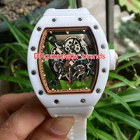 Wholesale Ladies Ceramic Band Watches - The new White ceramic case watch white rubber strap band mechanical big size for lady wristwatch sport 055 brand watches