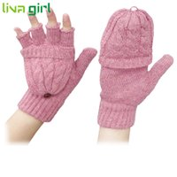 Wholesale Gloves Pretty - Wholesale- Women Winter Warmer Fashion Knitted Gloves Lady Girl Pretty Stylish Crochet Fingerless Mittens Soft Guantes Luvas Gift Oct12