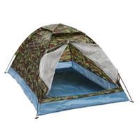 камуфляж летние палатки оптовых-Оптовая продажа-открытый 200*140 * 110 см ткань Оксфорд PU водонепроницаемое покрытие 4 сезона 2 человек один слой камуфляж кемпинг туризм палатка